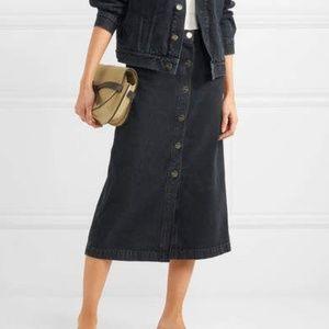 GoldSign The Button Front Denim Midi Skirt - Black